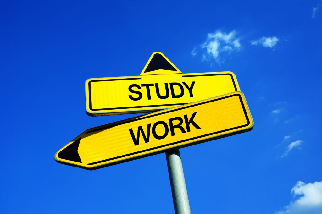 Study,Vs,Work,-,Traffic,Sign,With,Two,Options,-